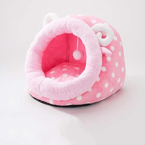 カボチャの猫のリッター複数のスタイル半閉じた冬暖かい取り外し可能なクリーンペットハウスリビングルームベッドルームバルコニーユニバーサルケンネル (色 : ピンク, サイズ さいず : 35×35×32cm)