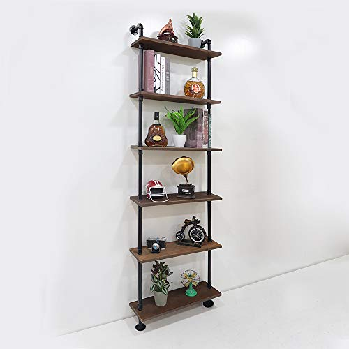 KINMADE Industrial Pipe Shelf Wall Shelf Rustic Wood with Black Iron Pipe 6 Tier by KINMADE (Image #4)