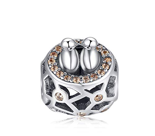 EVESCITY Many Styles Silver Pendents 925 Sterling Beads Fits Pandora, Similar Charm Bracelets & Necklaces (Two Love Birds and Nest) (Pandora Charm Lovebird)