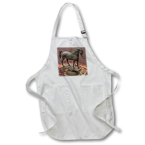 3dRose Roni Chastain Photography - Steel horse - Full Length Apron with Pockets 22w x 30l (apr_261669_1)