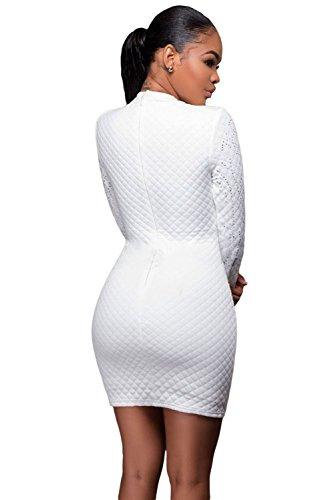 Nuevas mujeres de color blanco brillante con tachuelas manga larga vestido Club Wear Partido desgaste tamaño L UK 12–�?4EU 40–�?2
