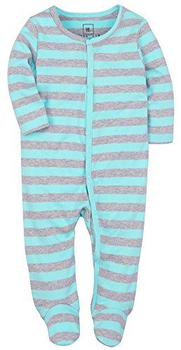 HONGLIN Baby Girl and Boys Footies Pajamas Blue and Grey Striped Cotton Romper 9-12 - Blue Pajamas Striped
