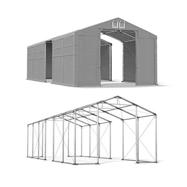 Das Company Tendone Deposito 4x16x3,5 m Tendone Bianco ignifugo Impermeabile 620g/m² Tenda da stoccaggio Rinforzo dell… 3 spesavip