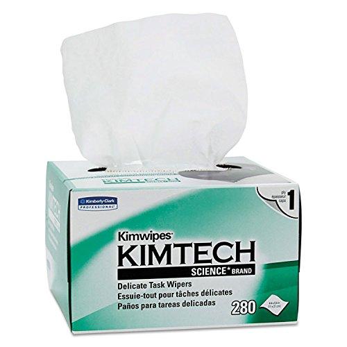 Kimtech 34120 KIMWIPES Delicate Task Wipers, 1-Ply, 4 2/5 x 8 2/5, 280/Box, 30 Boxes/Carton