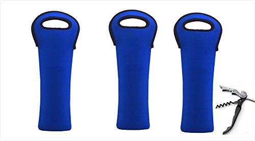 (Neoprene One Bottle Wine Tote for Champagne/Wine/Beer/Soda/Cider Bottle (3, Army Blue))