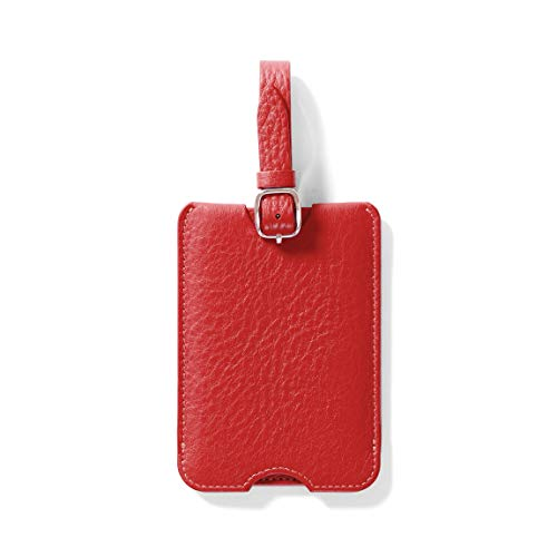 Deluxe Luggage Tag - Full Grain Leather Leather - Scarlet (red)