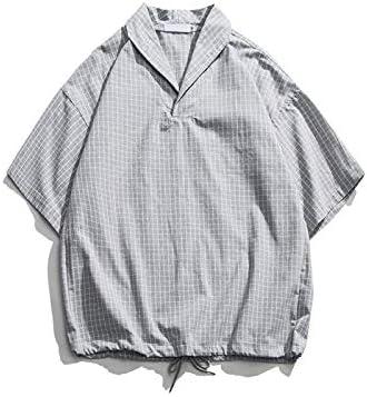 DXHNIIS Camisa de Cuello caído Camisas de Gran tamaño Hombres ...