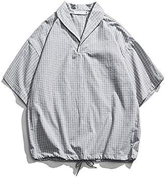 DXHNIIS Camisa de Cuello caído Camisas de Gran tamaño Hombres Jersey Camisa de Manga Corta Estilo Suelto Camisas para Hombres Ropa de Hombre S Camisa Gris: Amazon.es: Deportes y aire libre