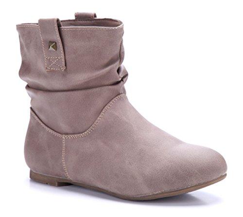 f8b3b8badcd1 Schuhtempel24 Damen Schuhe Flache Stiefeletten Stiefel Boots Flach Khaki