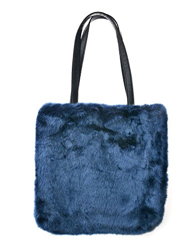 Fur Blue Tote Women's Shoulder Coloured Women's Coloured Faux Handbag Bag I1CwRFq