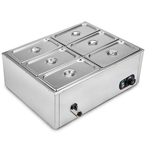 VEVOR 110V 6-Pan Commercial Food Warmer 850W Electric Countertop Steam Table 15cm/6inch Deep Stainless Steel Bain Marie Buffet Food Warmer Large Capacity 7 Quart/Pan for Catering and Restaurants from VEVOR