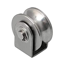 Yibuy 201 Stainless Steel U Type Small Bearing Fixed Pulley Rigid Wheel