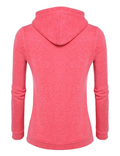Teamyy Sudadera con capucha de manga larga suéter invierno de las mujeres Rojo