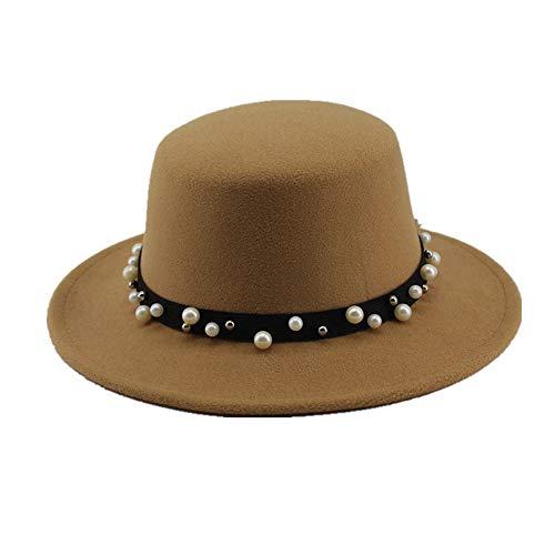 (Women Boater Flat Top Hat, Felt Wide Brim Fedora Hat Lady Prok Pie Chapeu De Feltro Bowler Gambler Hat, by jdon-hats, (Color : Yellow, Size : 56-58cm))
