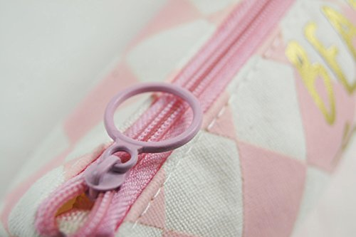 Katara 1811 - Federmäppchen Schlampermäppchen, Retro Vintage Look, Schule Büro Mädchen Jungen Damen Herren, Blau-Weiß Pink (Rauten)