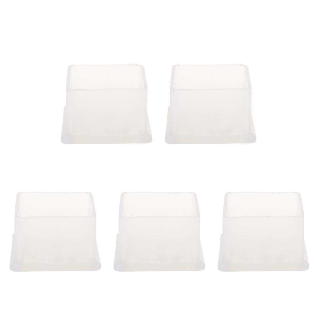 uxcell Clear PVC Chair Leg Caps End Tip Feet Cover Furniture Glide Floor Protector 5pcs 2 x 2 50x50mm Reduce Noise Prevent Scratch Rectangular Inner Size