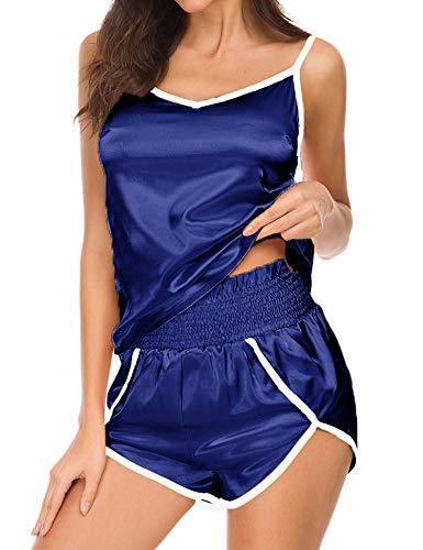 (Silkwear Plus Size Lingerie Ladies Sexy Baby Doll Sleeping Night Wear Pjs Sets(Navy Blue,L) )