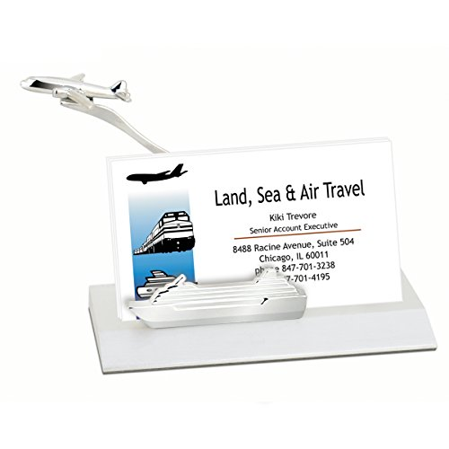 Marketing Innovations Intl Business Card Holder with Molded Airplane/Cruise Ship. Business Card Holder for Office. Best Gift for Airplane and Cruise Companies - Molded Holder