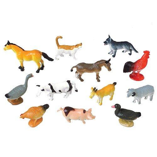 2 Dozen (24) Mini Plastic FARM ANIMALS Figures 2.5