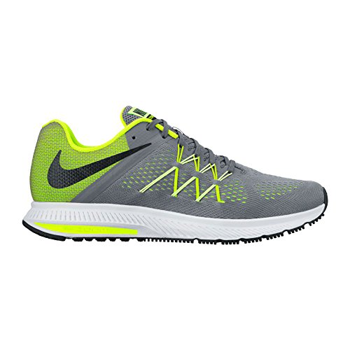 Nike Hommes Zoom Winflo 3 Chaussure De Course Cool Gris / Noir / Volt / À Peine Volt
