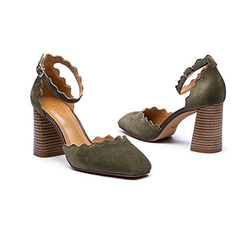Dream Fashion 1 Word Buckle High Heels Elegant Thick With Roman Shoes (Color : Green, Size : 35)