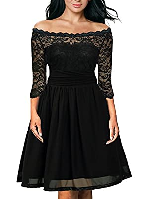 DILANNI Women's Vintage Floral Lace Off Shoulder Cocktail Party Tube Dress 0X-5X
