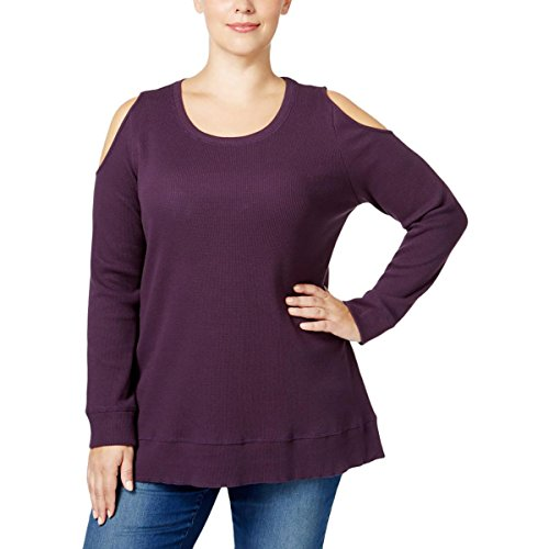 Style & Co. Womens Plus Solid Ribbed Casual Top Purple 2X (Spandex . & Style Tunic Co)