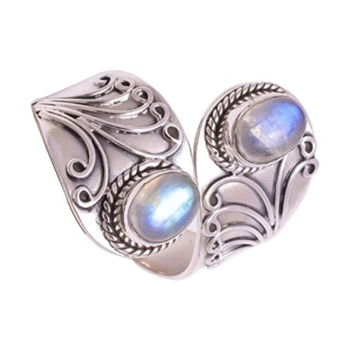 CHoppyWAVE Ring Vintage Carving Faux Turquoise Open Finger Ring Women Charm Banquet Jewelry - Silver US ()