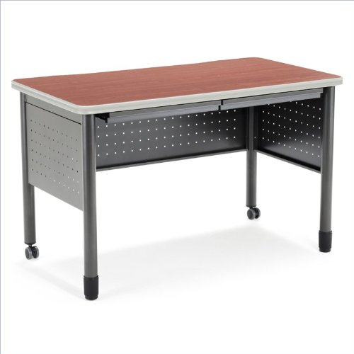 OFM Mesa Series Training Table with Drawer - Durable Mobile Utility Desk with Drawers, Cherry, 25.5