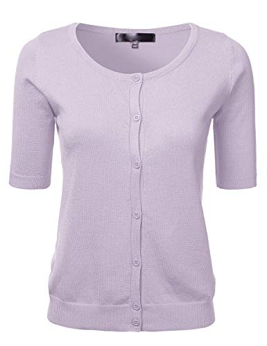 Womens Button Down Fitted Short Sleeve Fine Knit Top Cardigan Sweater Lilac M ()