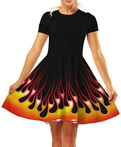 GLUDEAR Women's Casual Swing T-Shirt Dress Short Sleeve Tie Dye Ombre -