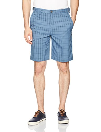 Haggar Men's Cool 18 Plaid Hidden Expandable Waist Short, Cadet Blue, -