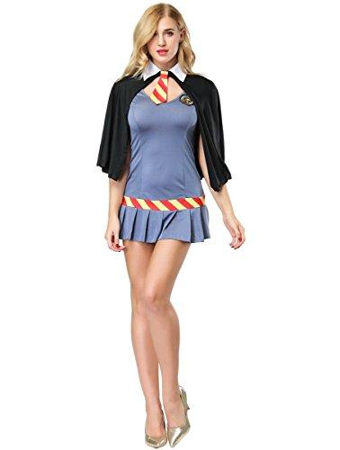 Genic Women Wizard Wanda Costume School Girl Fancy Dress Book Week Costume 3-Piece Dress and Cape (Plus Size(fit XL XXL)) ()