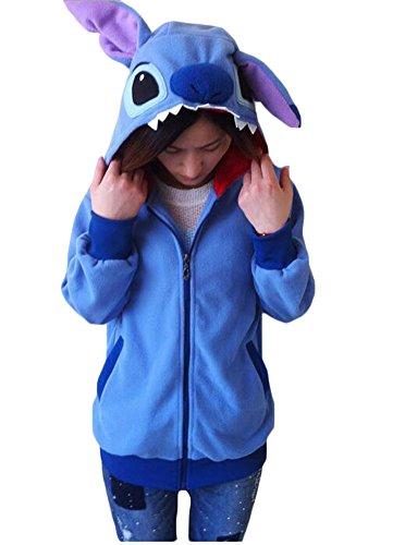 King Ma Unisex Cute Cartoon Stitch Hoodie Costume Zipper up Hooded Tops (Stitch Sweater)