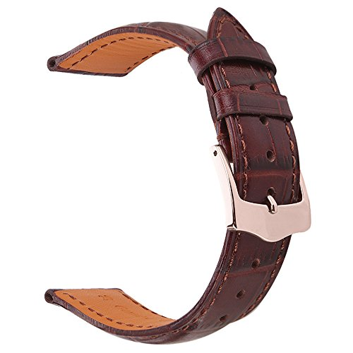 (EACHE 20mm Dark Brown Genuine Leather Watch Band Italy Alligator Pattern (Bamboo Pattern) Leather Replacement Watch Band Rose Gold Buckle)