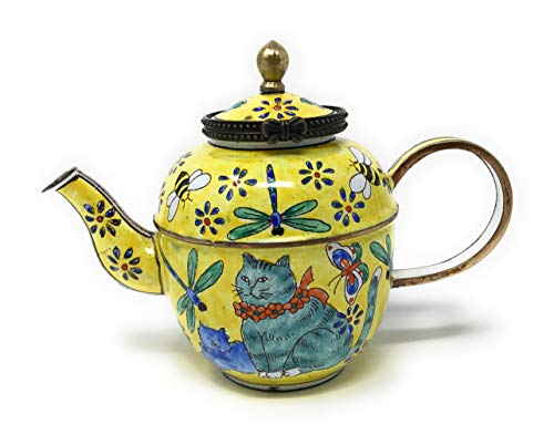 (Kelvin Chen Cats and Insects Enameled Miniature Teapot with Hinged Lid, 4.25 Inches Long)