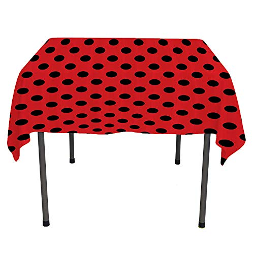 Red and Black, Waterproof Table CoverRetro Vintage Pop Art Theme Old 60s 50s Rocker Inspired Bold Polka Dots Image, for Outdoor and Indoor Use, 60x60 Inch Scarlet -