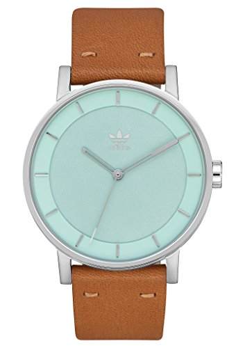 adidas Watches District_L1. Genuine Leather Strap Watch, 20mm Width (Silver/Ash Green/Tan. 40 mm).