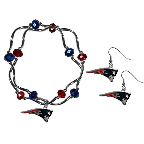 (Siskiyou NFL New England Patriots Dangle Earrings & Crystal Bead Bracelet Set)