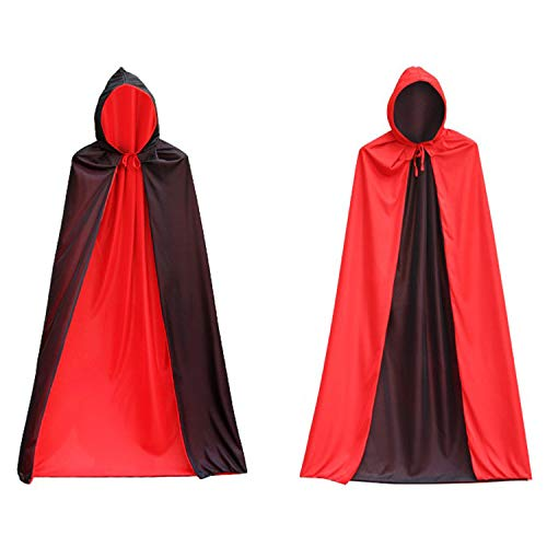 DingGuagua Men Women Halloween Cloak Hooded Masquerade Black and Red Reversible Christmas Party Cosplay Cape Costume