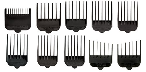 Wahl Professional Animal Attachment Guide Comb 10-Pack Grooming Set for Wahl's Show Pro Plus, Iron Horse, Pro Ion, U-Clip, and Deluxe U-Clip Pet, Dog, Cat, and Horse Clippers (#3173-500) ()