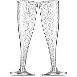 50 Silver Glitter Plastic Champagne Flutes ~ 5 Oz Clear Plastic Toasting Glasses ~ Disposable Wedding Party Cocktail Cups