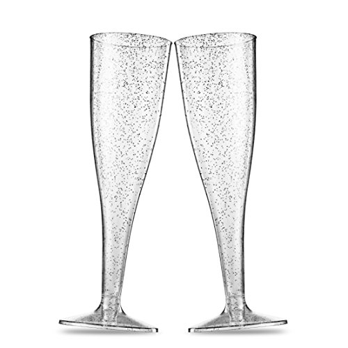 50 Silver Glitter Plastic Champagne Flutes ~ 5 Oz Clear Plastic Toasting Glasses ~ Disposable Wedding Party Cocktail Cups -