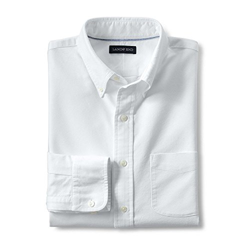 Lands' End Men's Big & Tall Traditional Fit Buttondown Solid Sail Rigger Oxford Shirt, L, White - Lands End Mens Dress Shirt