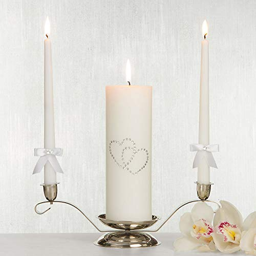 ELEGANI White Hearts Unity Candle Set 3pc Wedding Reception Supplies