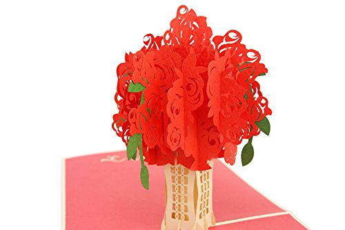 PopLife Red Rose Bouquet 3D Pop Up Greeting Card for All Occasions - Date Night, Flower Vase, Wedding Gift - Folds Flat, Perfect for Mailing - Birthday, Engagement, Anniversary, Mother's (Hall Rose)