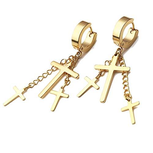 Zysta Gold 18G Post Huggie Dangle Earring Cross Drop Hoop Ear Lobe Piercing Ring Stud Stainless Steel