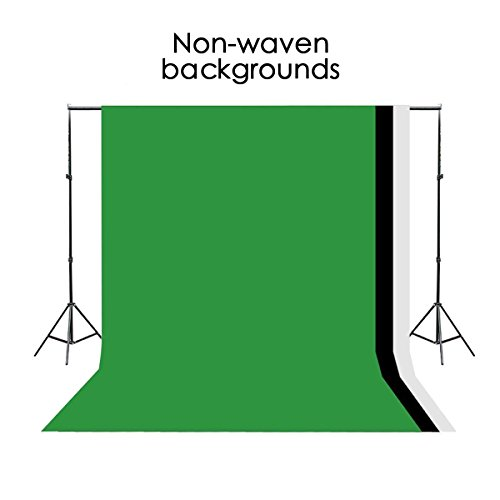 Excelvan Background Stand Support System Kit Photography Set 10 x 6.5FT and Green Black White Non-woven Backdrop 9 x 6FT by Excelvan