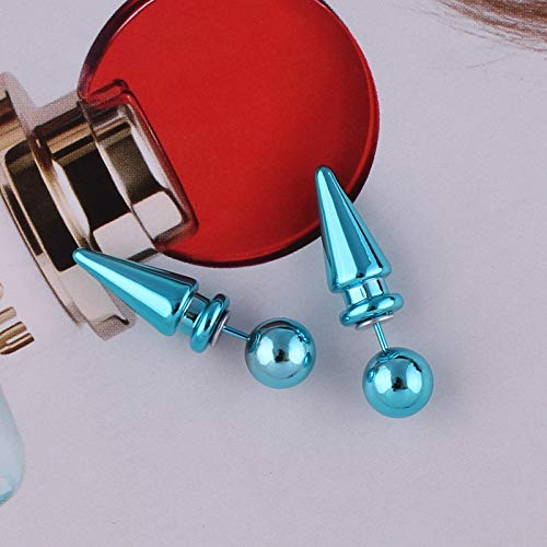 High Polished Unisex Gold Plated Multicolor Double Sided Bullet Charm Stud Piercing Post Earrings Studs