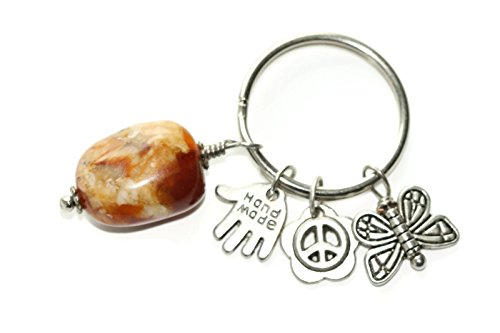 Butterfly Peace Crystal Backpack Charm Yoga Bag Unique Accessory Keychain